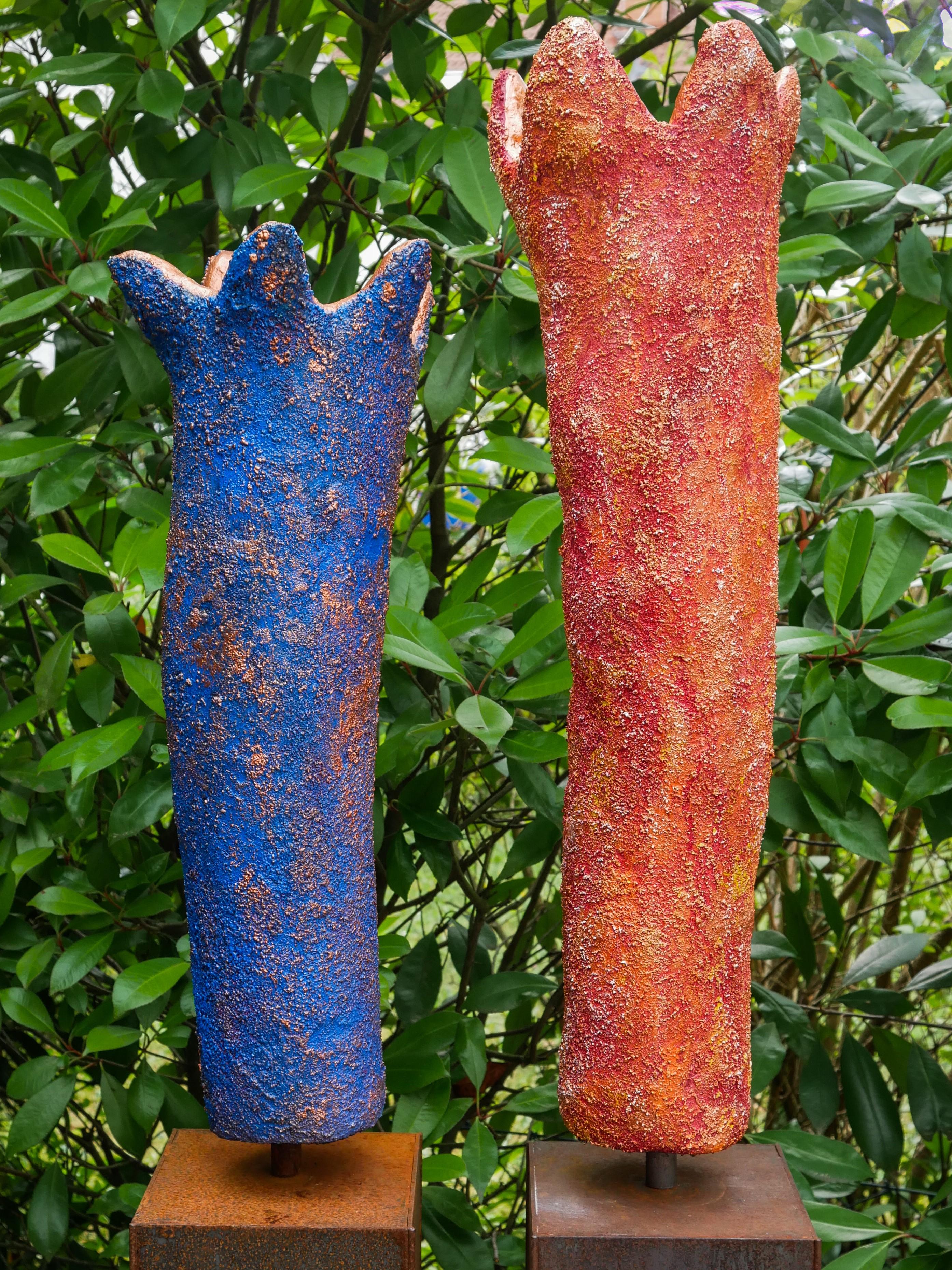 Skulptur Outdoor blau rot